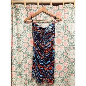 Body Central strapless club orange blue mini dress